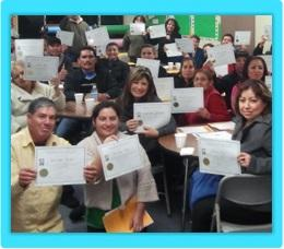 Costa Mesa parents receiving a certificate for participating in Parenting Wisely